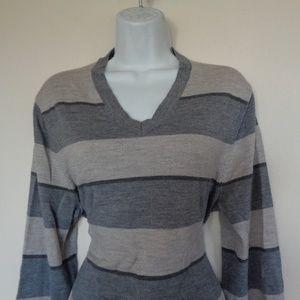 Banana Republic Wool Gray Striped Sweater Medium